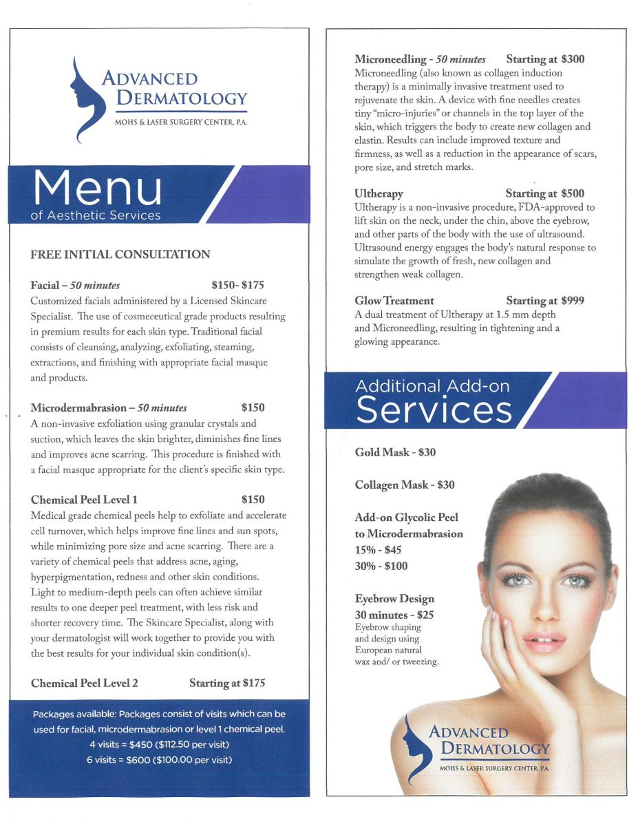 Menu of Aesthetic Services